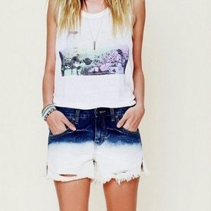 Free People Dip-Dye Ombre Cut Off Shorts
